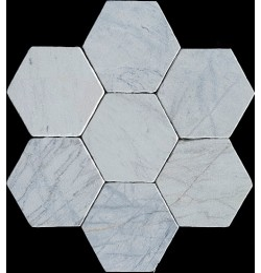 Persian White Hexagon Tumbled Paver Marble