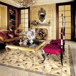 Italian Colonial Weave Polished Marble Porcelain Backed