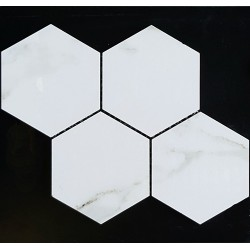 Hexagon Calacatta Oro Gold Polished Porcelain Mosaic 150x130