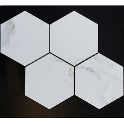 Hexagon Calacatta Oro Gold Honed Porcelain Mosaic 150x130