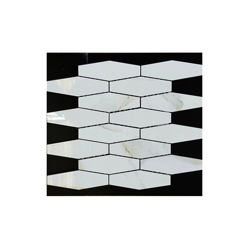 Hexagon Mini Plus Calacatta Gold Polished Porcelain Mosaic 50x150