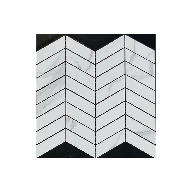 Wave Statuario Venato Polished Porcelain Mosaic 30x90