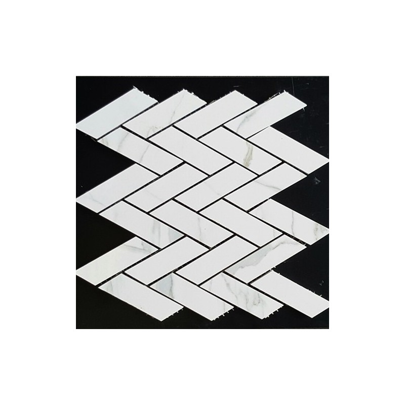 Arrow Statuario Venato Polished Porcelain Mosaic 30x90