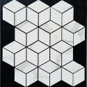 Diamond Cube Statuario Venato Polished Porcelain Mosaic 80x45