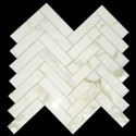 Herringbone Calacatta Gold Polished Porcelain Mosaic 25x100