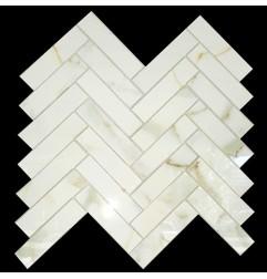 Herringbone Calacatta Oro Gold Polished Porcelain Mosaic 25x100