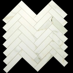 Herringbone Calacatta Oro Gold honed Porcelain Mosaic 25x100