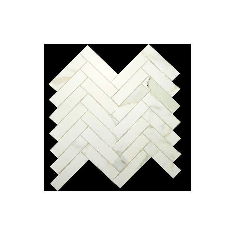 Herringbone Calacatta Gold honed Porcelain Mosaic 25x100