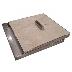 Pool Skimmer Lid with Medium Tumbled Travertine
