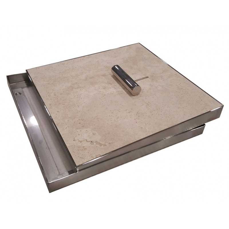 Skimmer Lid With Mid To Dark Tones Tumbled Unfilled Travertine