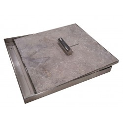 Pool Skimmer Lid with Silver Tumbled Travertine