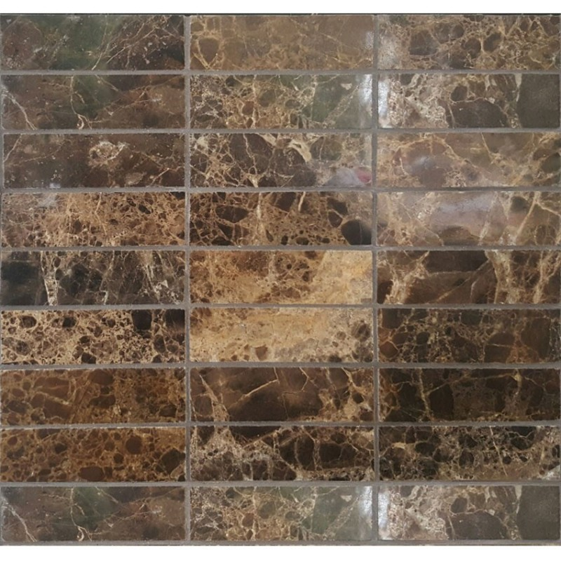 Dark Emperador Marble Mosaic 100x32 Bathroom Tiles