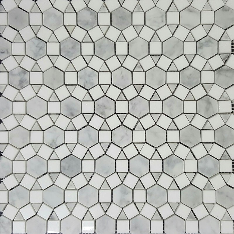 Alambra Carrara Honed & Thassos Polished Marble Mosaic