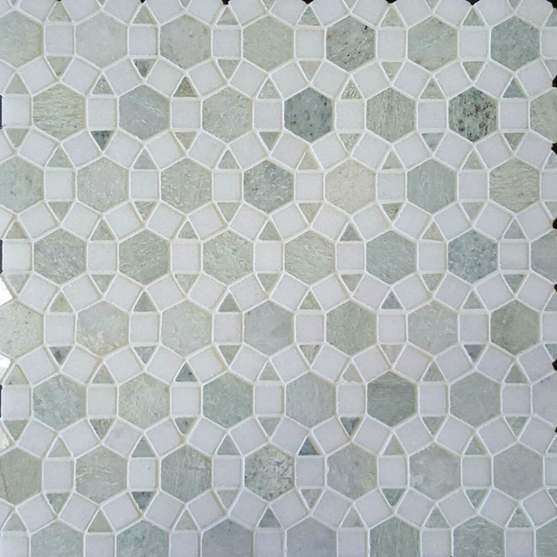 Alhambra Light Ming Green Honed & Thassos Polished Marble Mosaic