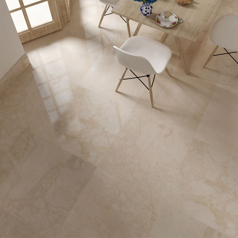 Kaman Beige Polished Marble Porcelain Backed