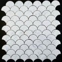 Carrara Fan Honed Marble Mosaic