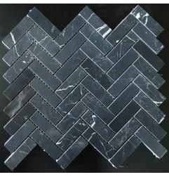 Nero Marquina Herringbone Honed Marble Mosaic 20x64