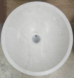 Bianca Perla Honed Round Basin Limestone