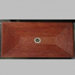 Rosso Honed Rectangle Angle Basin Travertine