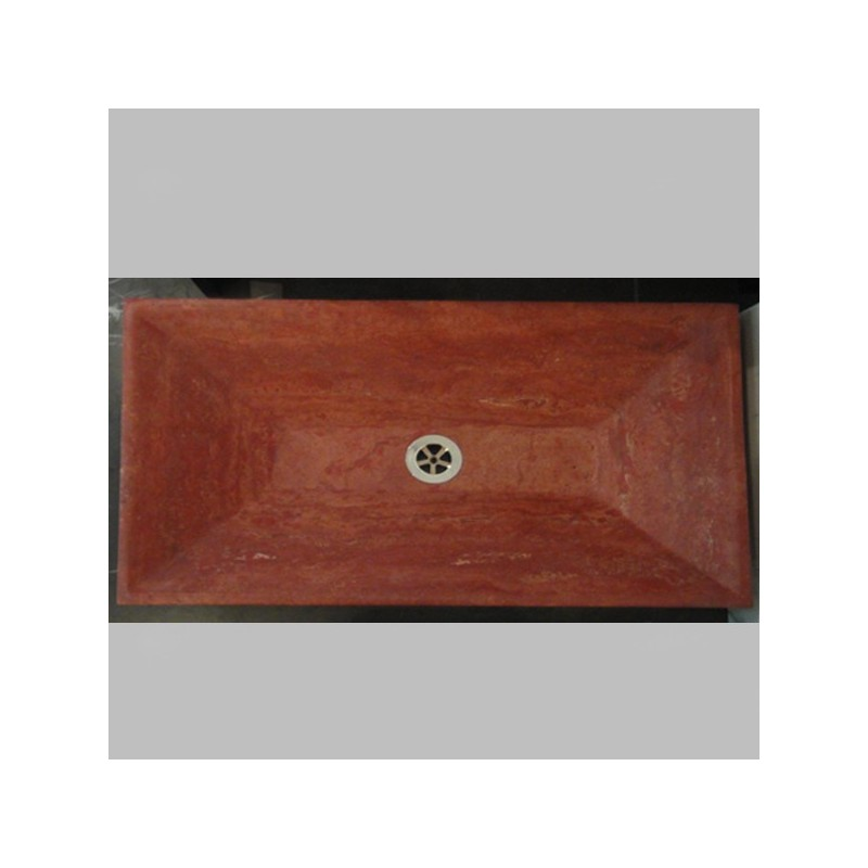 Travertine Rosso - Rectangle Angle Basin - Honed