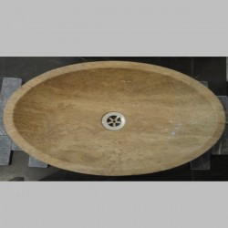 Noce Honed Oval Basin Travertine