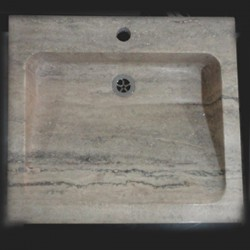 Silver Honed Rectangle Basin Travertine