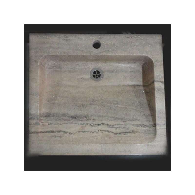 Travertine Multi Grey - Rectangle Basin - Honed