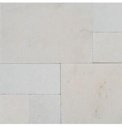 Crema Luminous French Pattern Tumbled Limestone Tile
