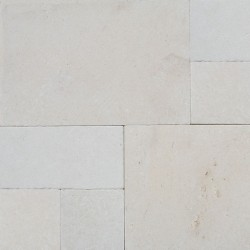 Crema Luminous French Pattern Tumbled Limestone Tile
