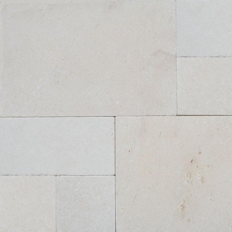 Crema Luminous French PatternTumbled Paver Limestone