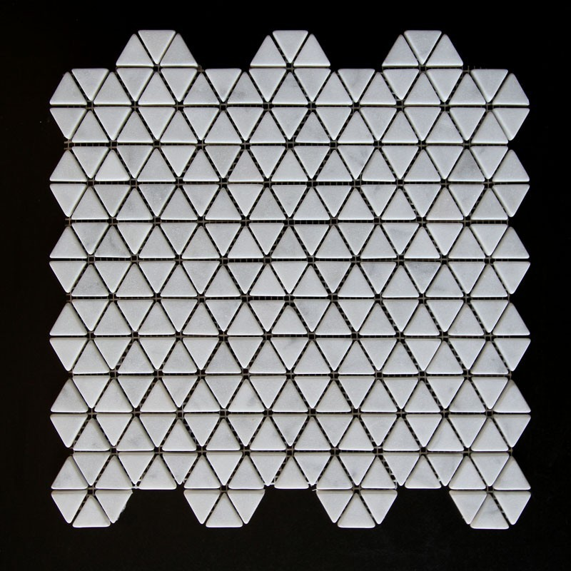 Carrara Triangle Tumbled Marble Mosaic