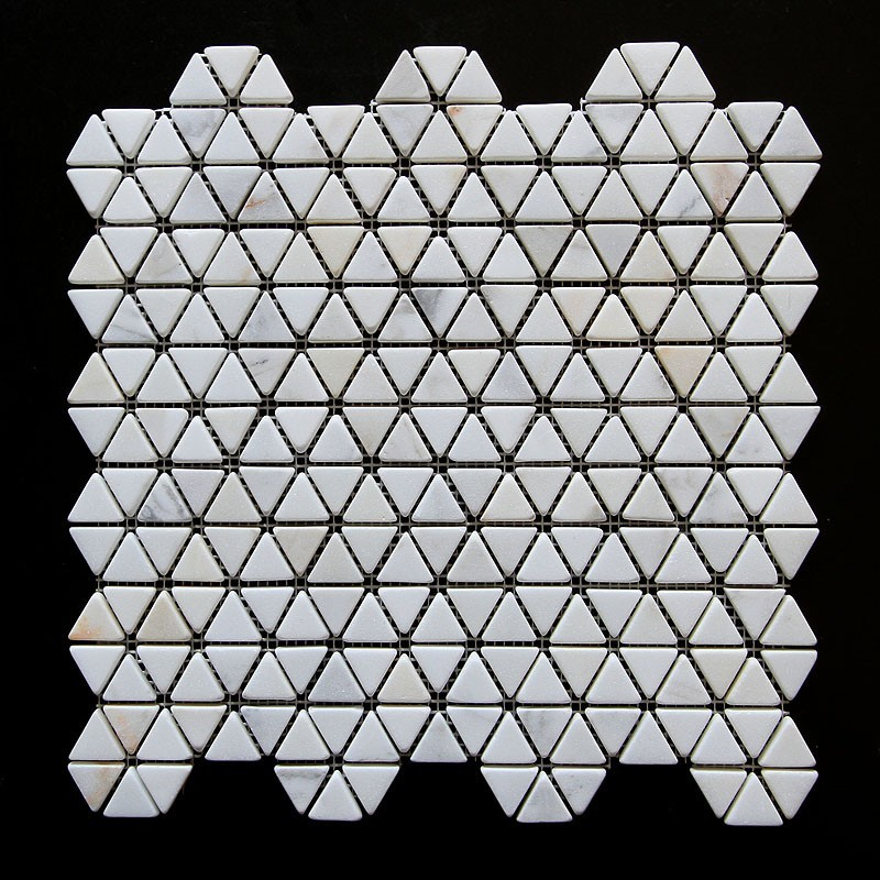 Calacatta Triangle Tumbled Marble Mosaic