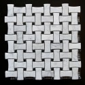 Dogbone Basketweave Carrara & Nero Marquina Honed Marble Mosaic