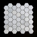 Carrara Hexagon Tumbled Marble Mosaic 48x48