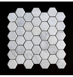 Carrara Hexagon Tumbled Marble Mosaic 48x48