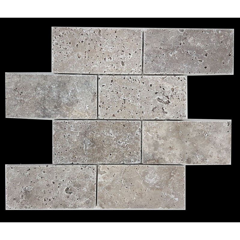 Silver Tumbled Subway Sheeted Travertine
