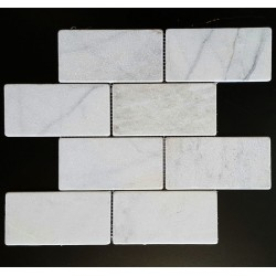 Persian White Tumbled Subway Sheeted Marble