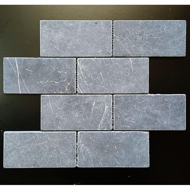 Pietra Grey Tumbled Subway Sheeted Limestone