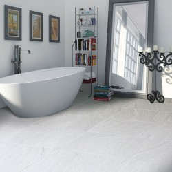 Travertine Silver Polished Porcelain Tile
