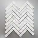 Diana White Herringbone Honed Marble Mosaic 25x98