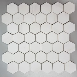 Dolomite white Hexagon Honed Marble Mosaic 48x48