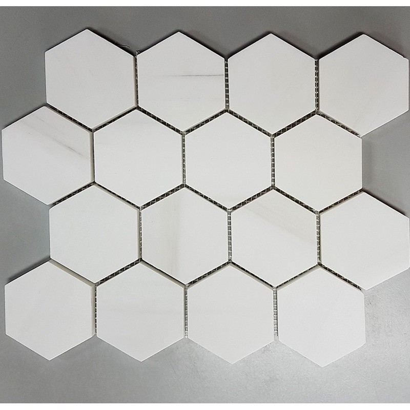 Dolomite white Hexagon Honed Marble Mosaic 70x70