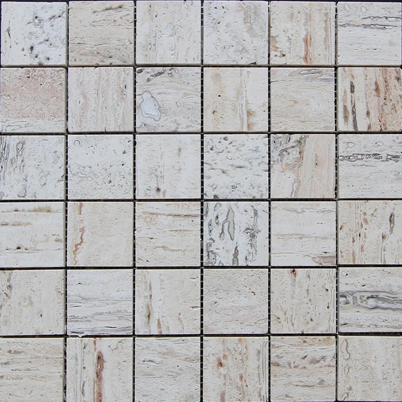 Silk Filled Polished Travertine Mosaic 50x50