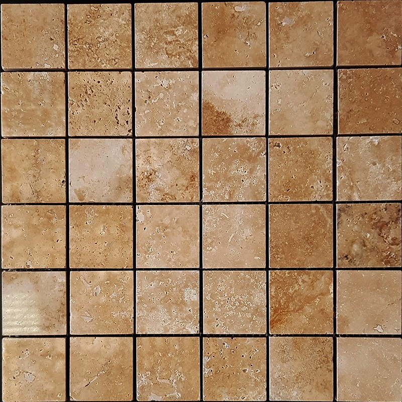 Noce Filled Polished Travertine Mosaic 50x50