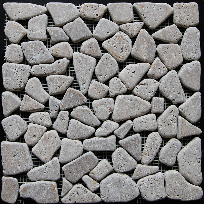 Noce Crazy Pattern Tumbled Travertine Mosaic