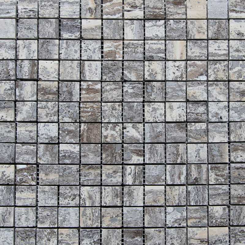 Multicolour Grey Filled Polished Travertine Mosaic 25x25