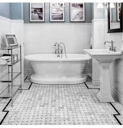 Dogbone Basketweave Carrara & Nero Marquina Honed Marble Mosaic