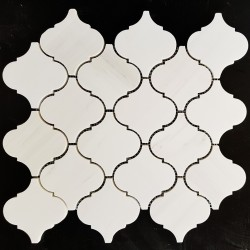 Dolomite white Arabesque Honed Marble Mosaic 97x102