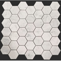 Carrara Hexagon Honed Marble Mosaic 48x48
