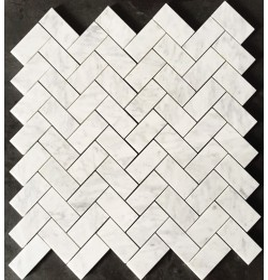 Carrara Herringbone Honed Marble Mosaic 48x98